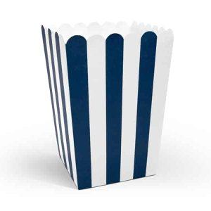 Blå stribede popcorn box mix