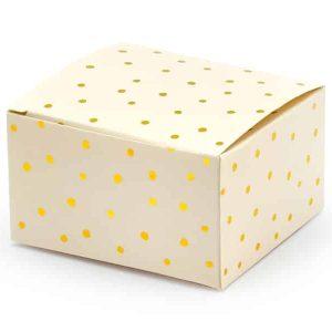 Lys peach box med guld prikker
