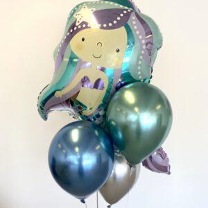 Ballon box havfrue med tre balloner