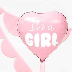 "Lyserød hjerte ""It's a girl"" folie ballon"