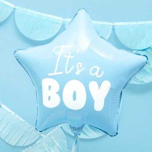 "Lyseblå stjerne ""it's a boy"" folie ballon"