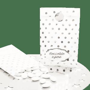 hvid slikpose med sølv prikker