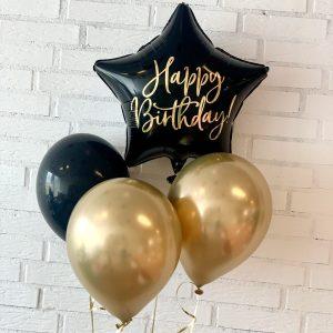 ballon box stjerne happy birthday med tre balloner